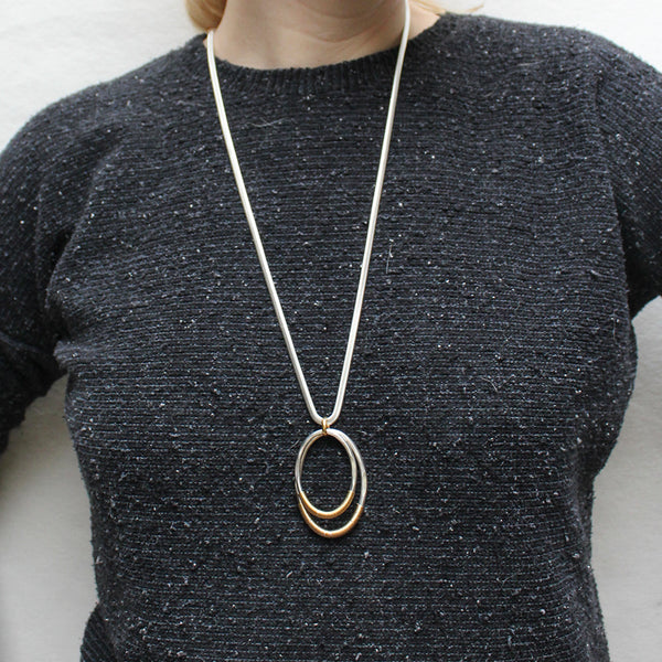 Wire Wrapped Oval Rings Long Necklace