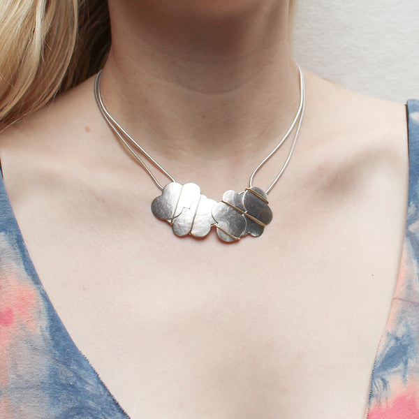 Interlocking Clouds with Diagonal Wire Wrapping Necklace