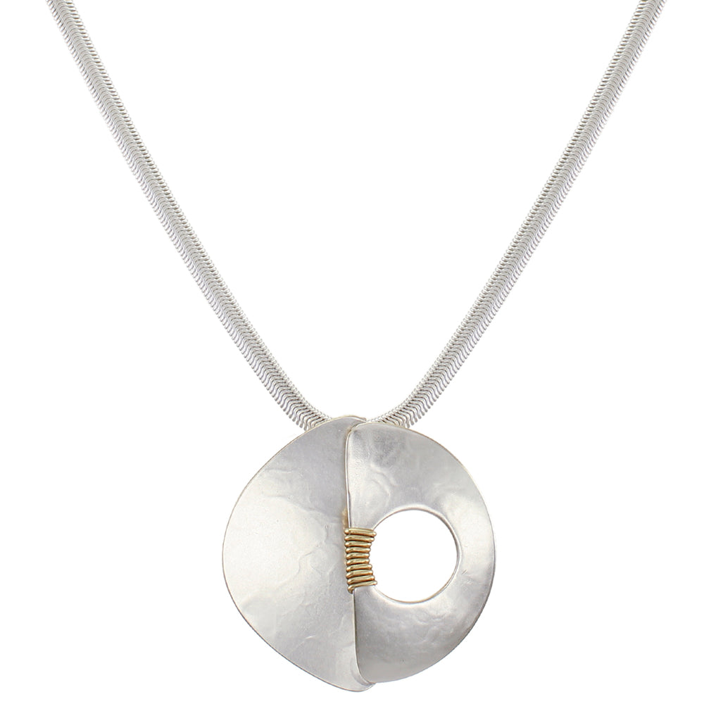 Dished Semi Circle with Overlapping Domed Semi Circle with Cutout and Wire Wrapping Necklace