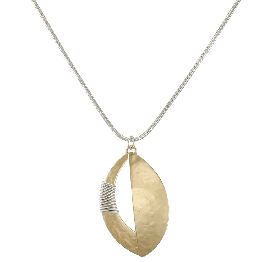 Domed Leaf with Semi Circle Cutout and Wire Wrapping Necklace