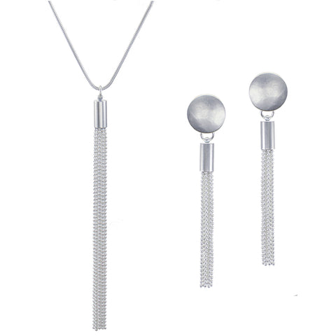 Dramatic Modern Matching Set - Silver Tassel Necklace and Clip or Post Earrings