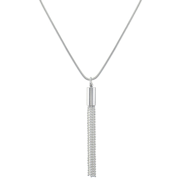 Medium Ball Chain Tassel Necklace on Snake Chain
