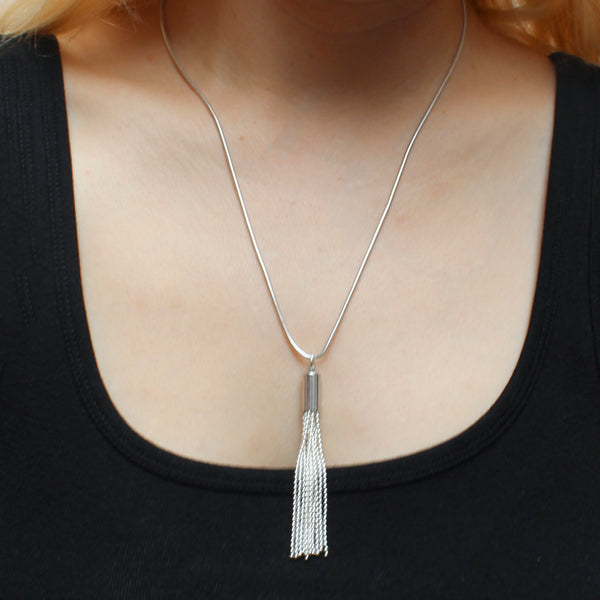 Sleek Modern Matching Set - Silver Tassel Necklace and Wire Earrings