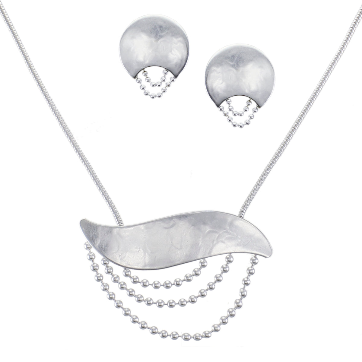 Modern Draped Matching Set - Silver Ball Chain Necklace and Post or Clip Earrings