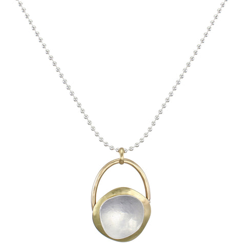 Domed Organic Disc with Dished Organic Shape Necklace and Ball Chain