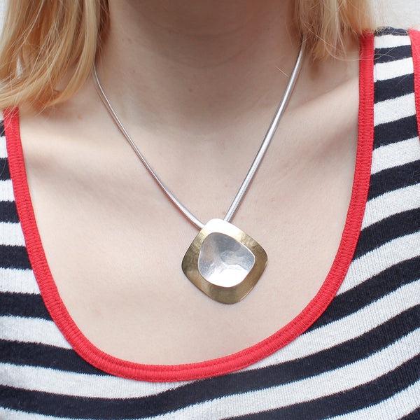 Domed Diamond with Dished Organic Shape Necklace