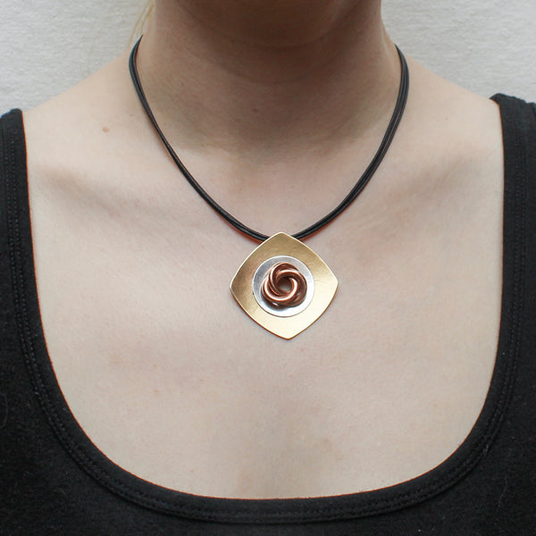 Square with Disc and Knot on Black Cord Necklace
