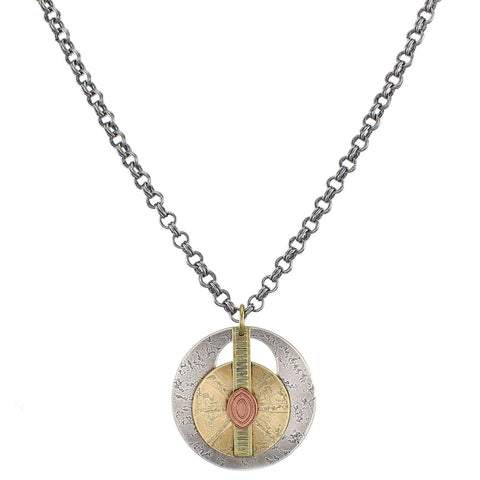 Layered Textured Discs and Long Rectangle with Link Chain Necklace