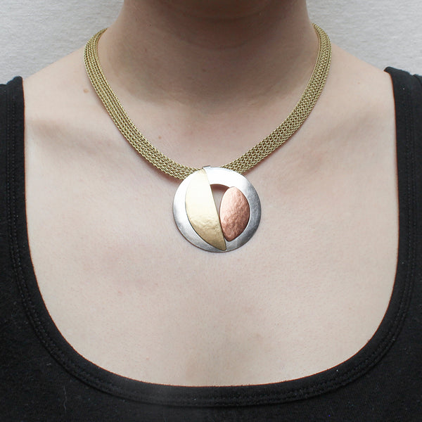 Cutout Disc with Semi Circle and Leaf on Mesh Chain Necklace