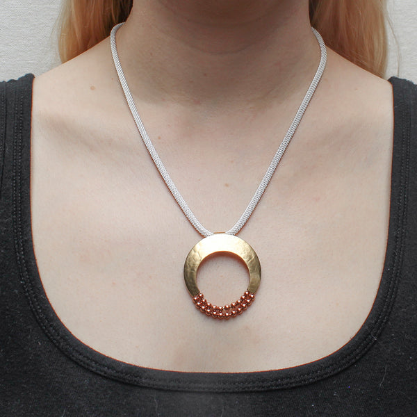 Crescent with Two Rows of Beads on Round Mesh Chain Necklace