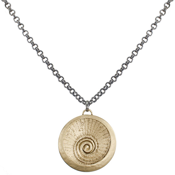 Framed Concave Spiral Textured Disc on Link Chain Necklace