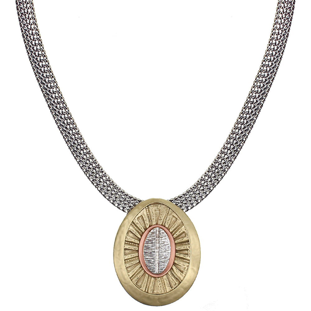 Framed Layered Textured Ovals on Wide Mesh Chain Necklace
