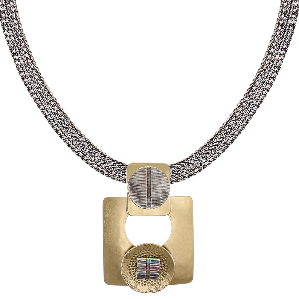 Textured Discs with Cutout Square with Wide Mesh Necklace