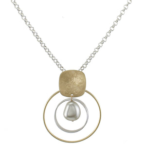 Rounded Square with Rings and Organic Grey Pearl on Chain Necklace