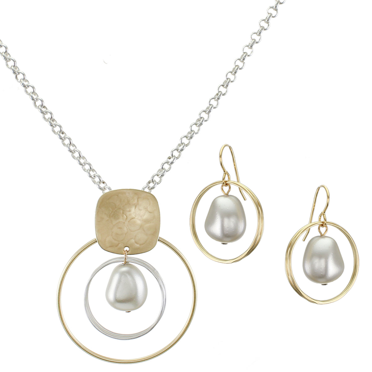 Unique Pearl Matching Set - Brass Silver and White Pearl Necklace and Wire Earrings