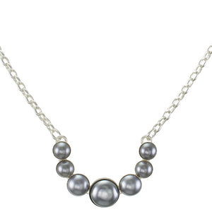 Semi Circle Arc of Graduated Grey Cabochons on Chain Necklace