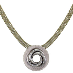 Large Dished Ring with Knot Necklace