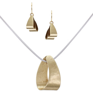 Modern Loop Matching Set - Brass Loop Necklace and Wire Earrings