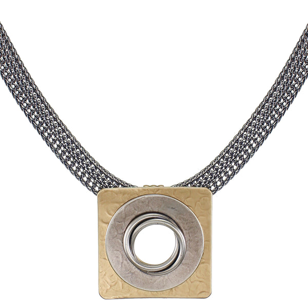 Large Rounded Square with Wide Ring and Knot Necklace