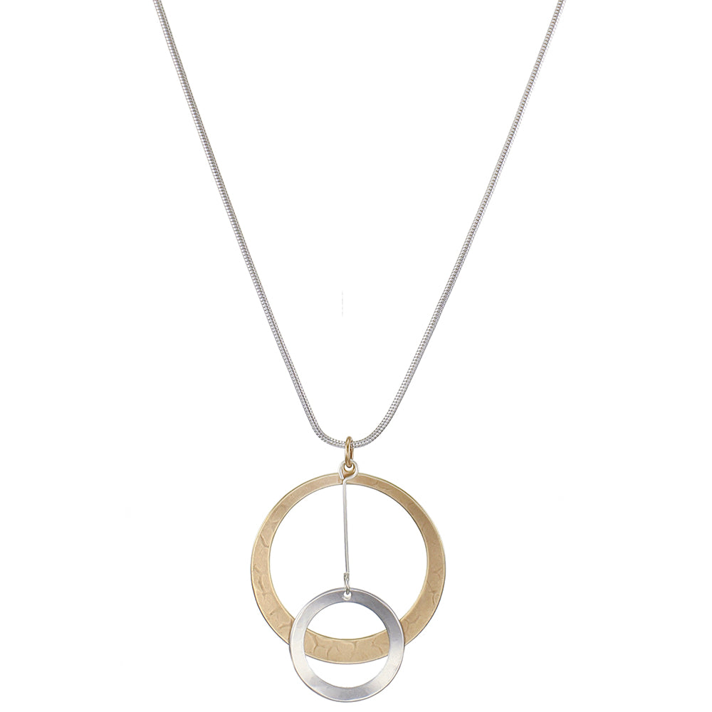 Dished Cutout Disc with Extended Ring Drop Long Necklace
