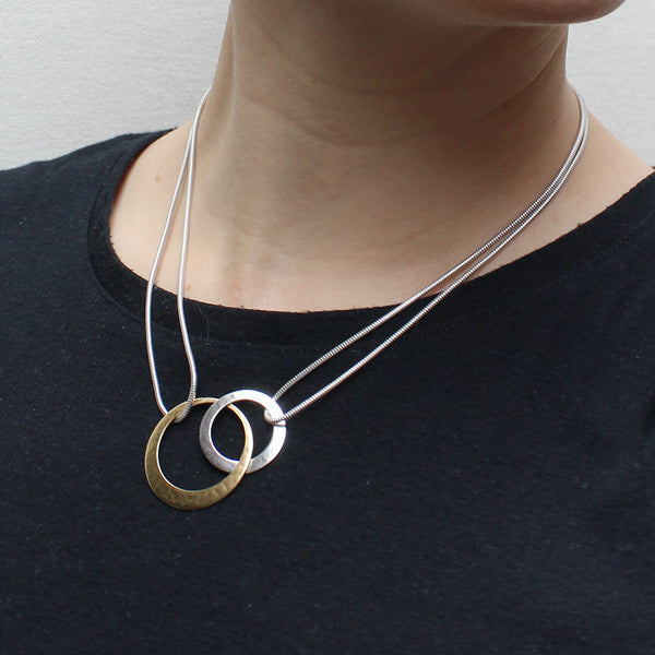 Interlocking Rings with Doubled Snake Chain Necklace