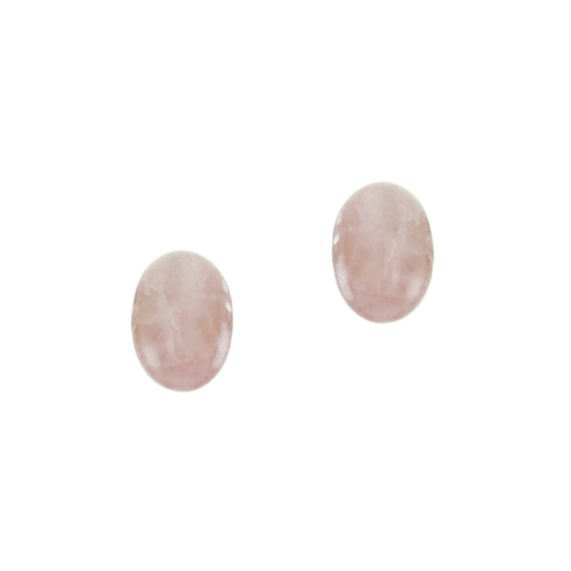 Pink Quartz Small Button Clip on or Post Earring