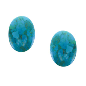 Turquoise Large Button Clip on Earring