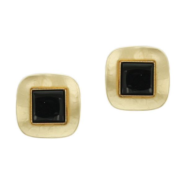 Black Post or Clip on Earrings