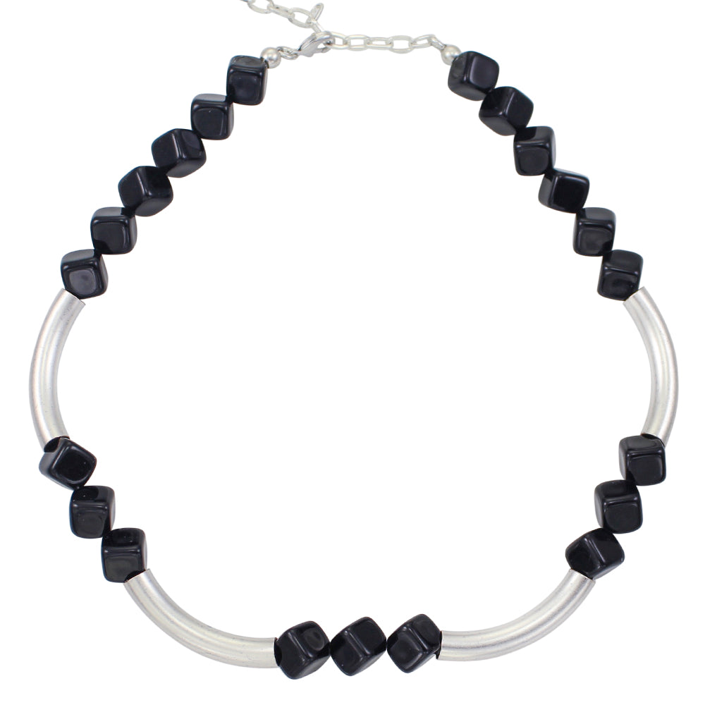 Onyx Beads and Tubes Necklace