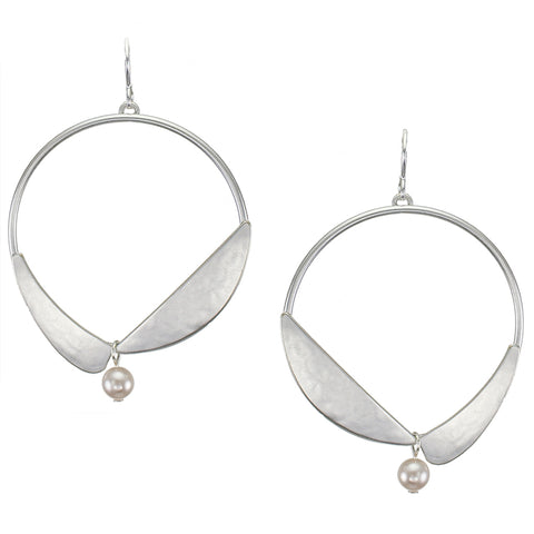 Hoop with Arcs and Pearl Wire Earring