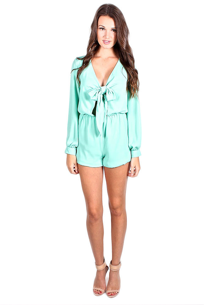Mint Bow Romper