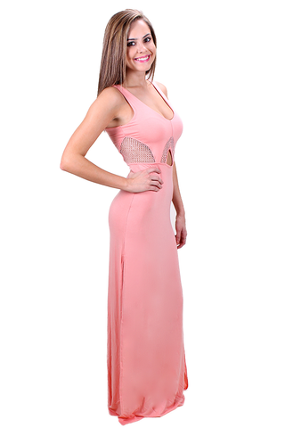 Take a Peek Maxi Dress in Pink