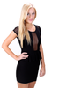 Mesh-Cutout Peplum Dress