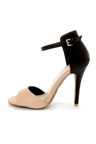 Anne Michelle Enzo 33 Nude and Black Strap Heel