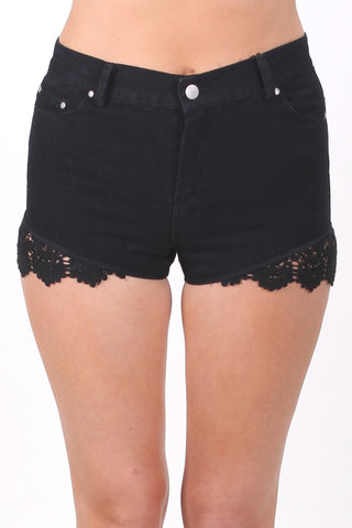 Lace Detail Denim Shorts in Black