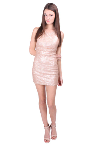 Sequin Mini Dress in Champagne