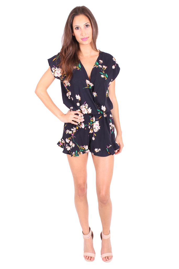 Floral Ruffle Romper by Honey Punch