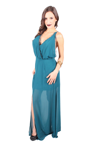 Rose Garden Maxi Dress in Teal