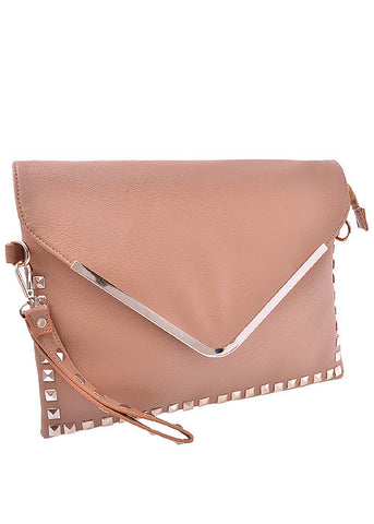 Oversized studded clutch bag