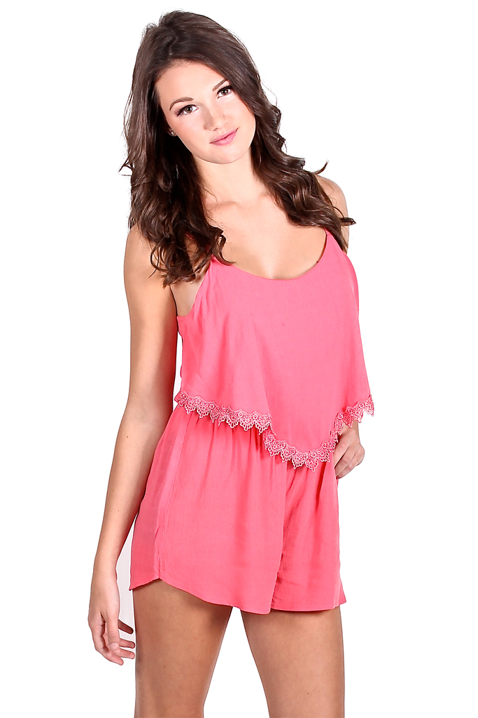 Summer Crush Romper in Coral