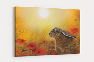 HARE AND POPPIES A4 Canvas Print