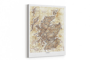 A4 Canvas Print Map of Scotland