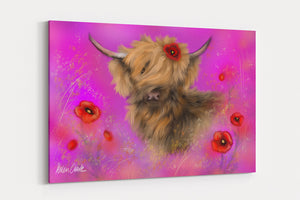 A4 Canvas Print Poppy in Pink