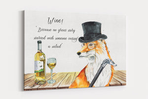 Foxy Wine A4 Canvas Print