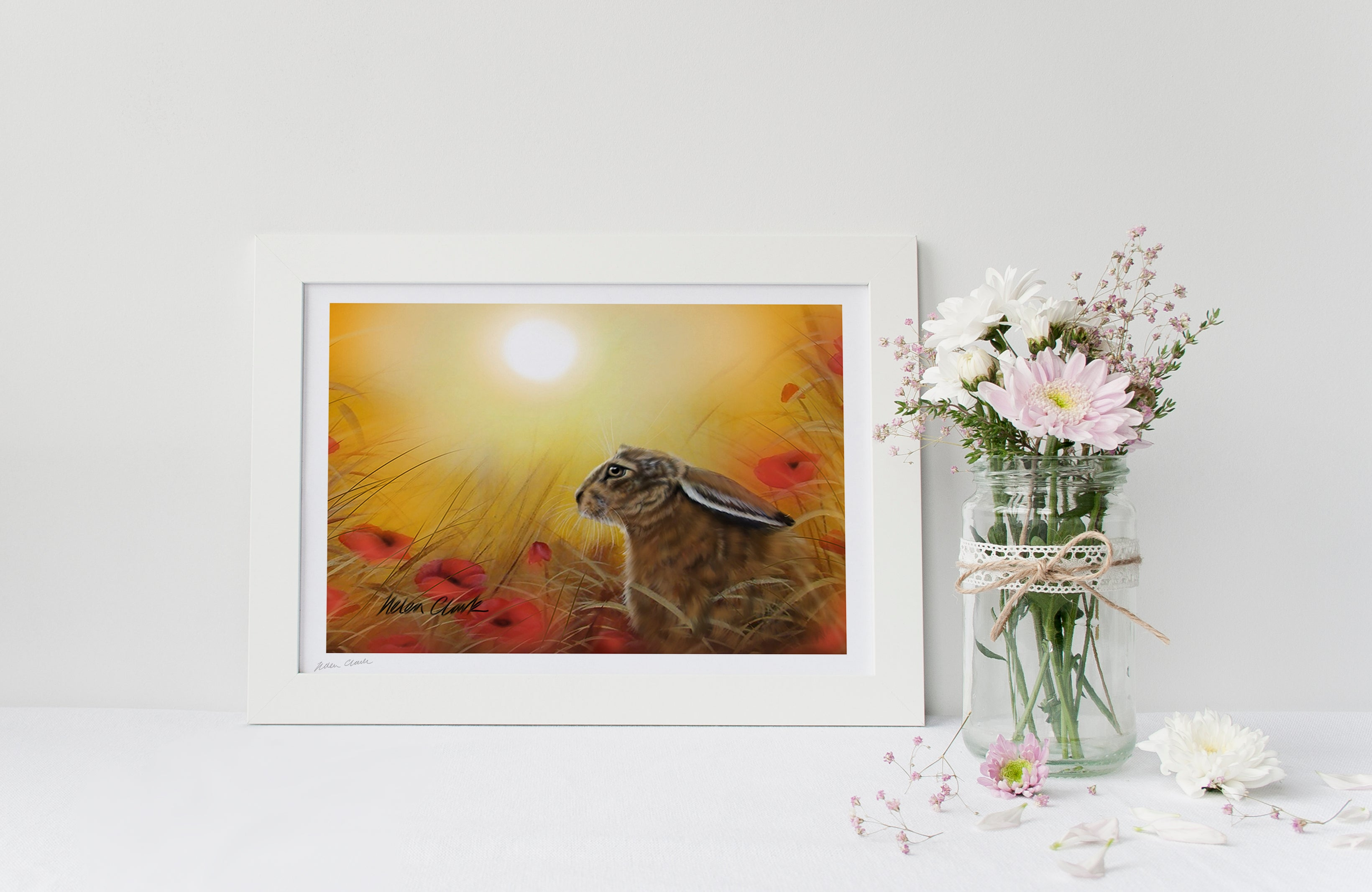 A4 Art Prints Hare in Poppies