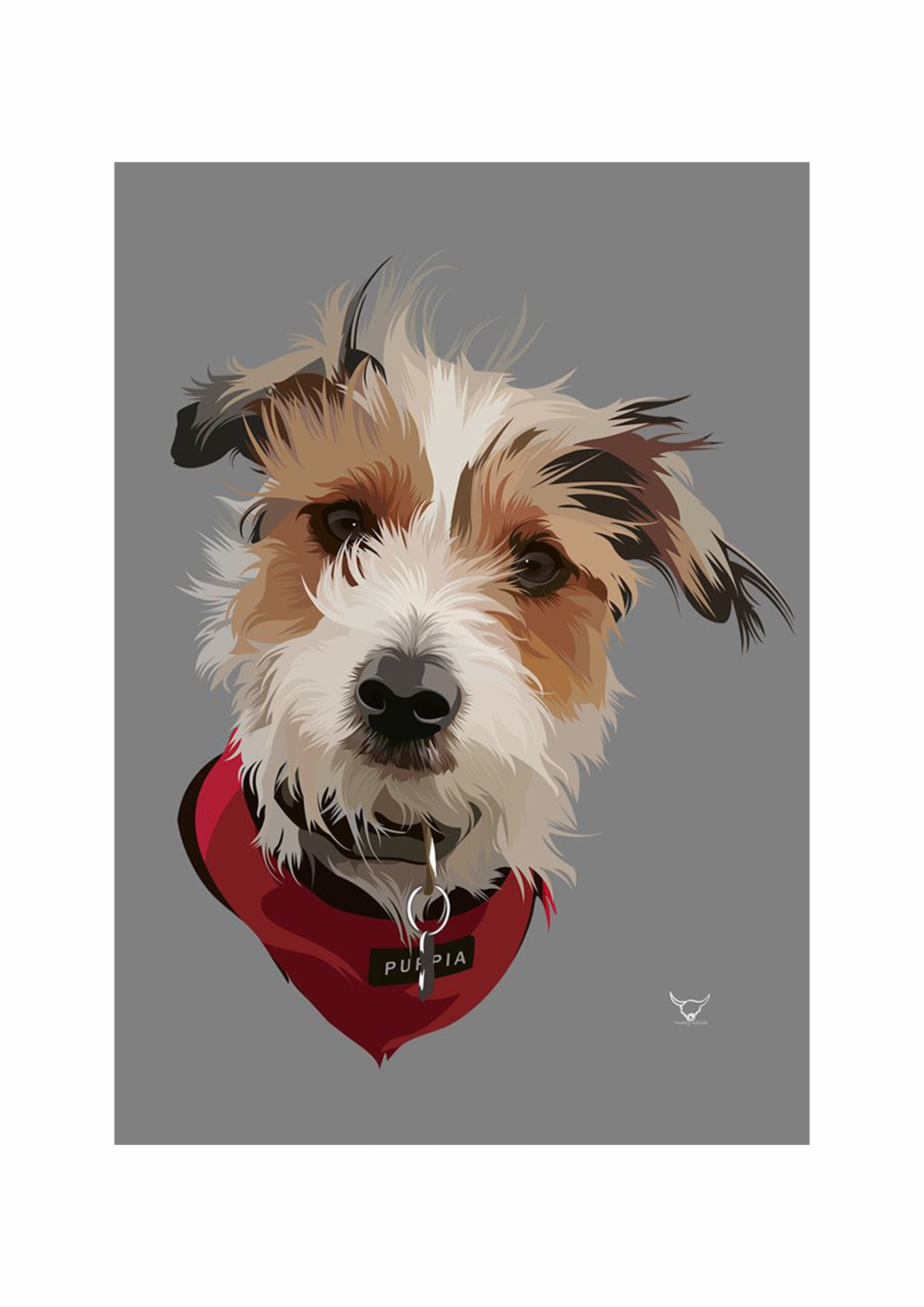 Luxury Print Pet Portrait With Coloured Background
