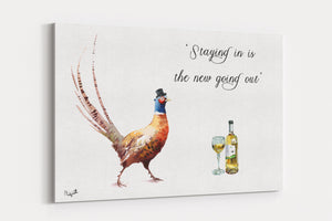 Staying in is the new going out A4 Canvas Print