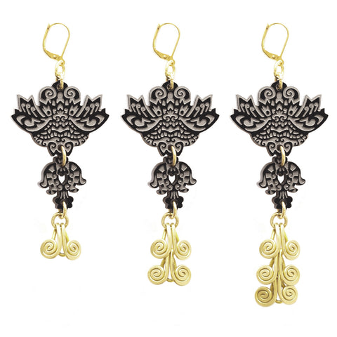 Fire Dragon Earrings - Black