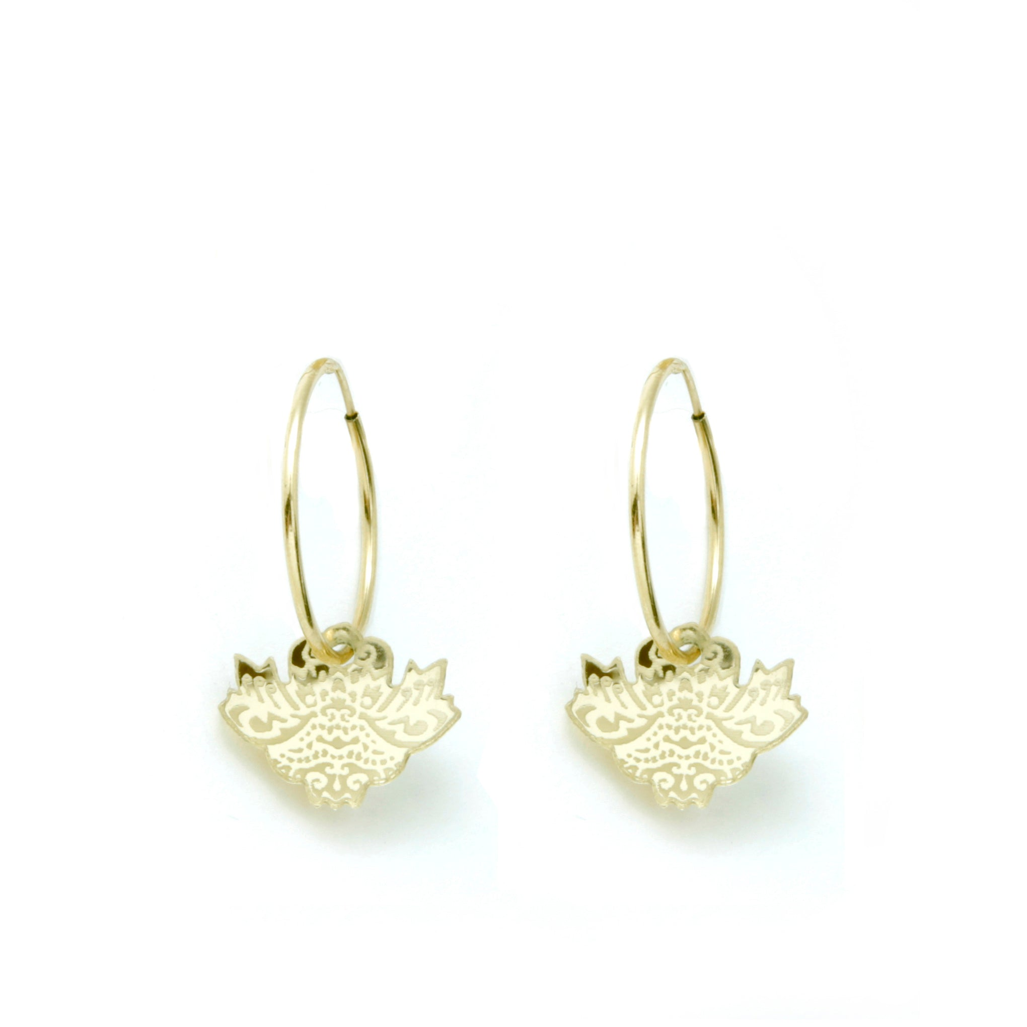 Lotus Dragon Hoop Earrings - Gold