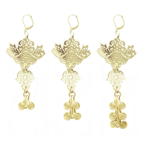 Fire Dragon Earrings - Gold